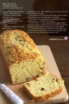 Rustic Bacon Cheddar Bread recipe (easy,quick bread).    #Bread #Cheddar #Bacon
