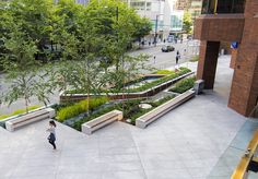 1130 Pender Plaza renovation, Vancouver, BC, designed by Connect Landscape Architects Inc. Landscape Plaza, Landscape Stairs, Landscape Elements, Urban Landscape, Landscape Design, Pavement Design, Plaza Design, Public Space Design, Parking Design