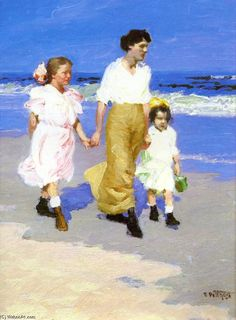 On the Beach, Oil On Panel by Edward Henry Potthast (1879-1881, United States)