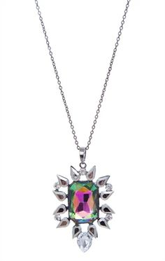 Deb Shops Long Necklace with Large Stone Pendant $7.63