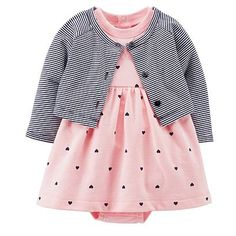 She'll sport a cute look wearing this cozy girls' Carter's French terry bodysuit dress and cardigan set. Outfits Niños, Kids Outfits, Baby Girl Fashion, Kids Fashion, Fashion Shoes, Dress With Cardigan, Cropped Cardigan, Striped Cardigan, Baby Kind