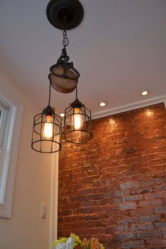 Wood Pulley cage Light