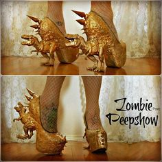 Channeling our inner T-Rex rapper in all gold today. #zombiepeepshow #jurassicpumps #trex #dinosaur #dinosaurheels #9gag #gold #flavorflavapproves