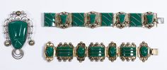 """Lot 552: Sterling Silver and Green Onyx Jewelry Assortment; Including (2) bracelets and a brooch, all having carved green onyx; all marked """"925"""" or """"sterling"""""""