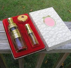 1970s Vintage Chantilly Houbigant Gift Set in Box with 2.5 Eau de Toilette Spray, Solid Perfume in Gold Compact, Spray Parfum in 1/3 Oz. by VictorianWardrobe on Etsy