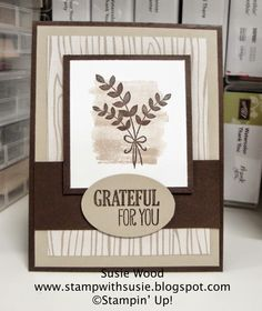 Stampin' Up!- 'For All Things' with Motley Monsters Designer Paper.  I love these colors together- Sahara Sand and Early Espresso