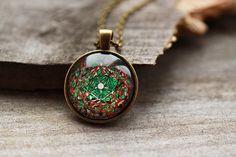 Mandala necklace New Age jewelry Art pendant Sacred by oldwoodland
