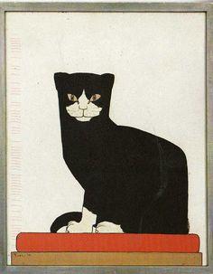 De kat , the cat    ABC RR Letter D = de kat (the cat) by B.A. van der Leck, 1914
