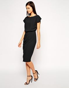 Pencil Dress with Shell Top and Split Front
