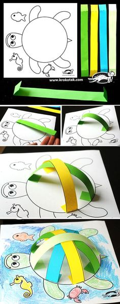 Turtle craft - Activities for kids Preschool Crafts, Fun Crafts, Arts And Crafts, Paper Crafts, Crafts Cheap, Science Crafts, Quick Crafts, Science Jokes, Daycare Crafts