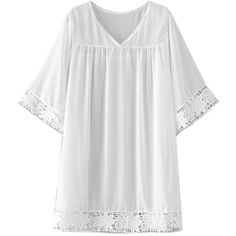 White V-neck Crochet Lace Trim Kimono Sleeve Beach Cover Up ($26) ❤ liked on Polyvore featuring swimwear, cover-ups, crochet swimwear, crochet beachwear, cover up swimwear, swim cover up and white beach wear