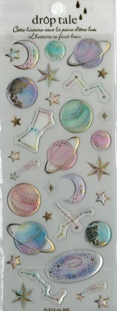 Kawaii Japan Sticker Sheet Assort Epoxy Droptale Series: GALAXY Space Extraterrestrial Constellations Stars Charts Science Astronomy by mautio on Etsy https://www.etsy.com/listing/243640457/kawaii-japan-sticker-sheet-assort-epoxy