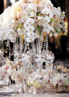 #wedding #reception #floral #arrangement #flower #decor #table #centerpiece #tablescape #tablesetting #floating #candles #KarenTranEvents