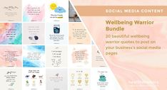 ❤️ SOCIAL MEDIA CONTENT ❤️ 💮 🙌 Wellbeing Warrior Bundle - Check out this beautiful bundle of images to share positive wellbeing reminders with your audience on social and help them become #wellbeingwarriors.
