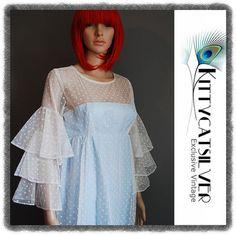 Jean Varon John Bates Vintage Babydoll Empire Spotty Net Frilled 60s Maxi Dress