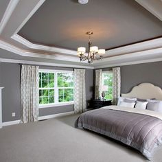 tray ceiling paint home design ideas pictures remodel and decor simple tray delivers online tools that help you to stay in control of your personal information and protect your online privacy. Painted Tray Ceilings, Tray Ceiling Bedroom, Ceiling Paint Colors, Ceiling Painting, Grey Ceiling, White Ceiling Paint, Recessed Ceiling, White Walls, Ceiling Fan