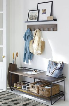 8 Complete ideas: Floating Shelves Office Study floating shelves fireplace how to build.Floating Shelf Mirror Double Sinks wooden floating shelf home decor.Floating Shelves Entertainment Center Home Office. Black Floating Shelves, Floating Shelves Kitchen, Bathroom Shelves, Style At Home, Plywood Furniture, Entry Way Design, Wall Mounted Coat Rack, Vestibule, Crate And Barrel