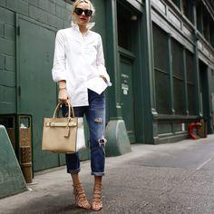 White shirt, Current/Elliott boyfriend jeans, Reed Karakoff RK40 tote, Schutz sandals #StreetStyle