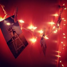 Clothes pin pictures on christmas lights