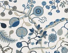MOJITO - Designed by Pierre Frey - option for wall covering in the Powder Room Pierre Frey, Old Wallpaper, Fabric Wallpaper, Mojito, Wall Sealer, Colorful Interior Design, Textile Patterns, Textiles, Blue Tones