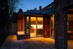 Contemporary extension of an Edwardian redbrick home. We create additional space to the rear of a family home without darkening the existing spaces. Glass Extension, House Extensions, Drum, Home And Family, Windows, Contemporary, Mansions, House Styles, Ramen