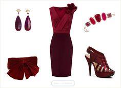 Burgundy Dress with accessories. www.dressforthewedding.com