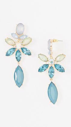Blue Iridescent Statement Drop Earrings