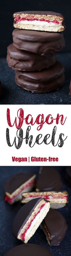 Vegan Gluten-free Wagon Wheels Wagon Wheels - another classic British treat I just had to recreate. Do you sense a theme here? It seems I'm drawn to making healthified, vegan and gluten-free versions (Healthy Vegan Sweets) Vegan Dessert Recipes, Gluten Free Desserts, Dairy Free Recipes, Baking Recipes, Dessert Healthy, Gluten Free Vegan Cake, Fudge Recipes, Candy Recipes, Delicious Recipes