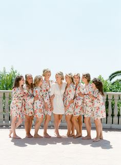 Matching robes for everyone! http://www.stylemepretty.com/2017/01/26/pink-black-tie-wedding/ Photography: Lacie Hansen - http://laciehansen.com/