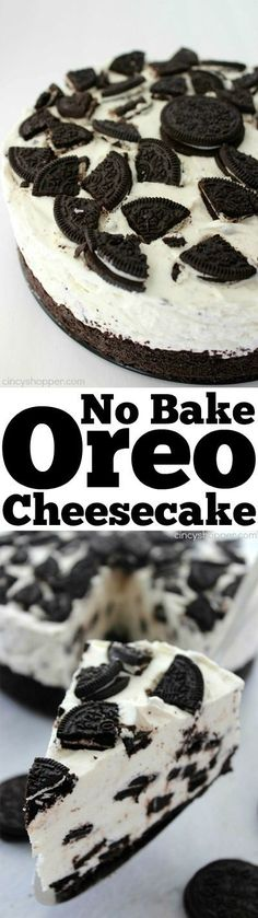 No Bake Oreo Cheesecake- looks and tastes like it could be on the menu of a high end restaurant. Super simple with no baking involved. Bake Oreo Cheesecake- looks and tastes like it could be on the menu of a high end restaurant. Super simple with no bakin Yummy Treats, Sweet Treats, Yummy Food, Oreo Torta, No Bake Oreo Cheesecake, Simple Cheesecake Recipe, Gluten Free Cheesecake, Pumpkin Cheesecake, Slow Cooker Desserts
