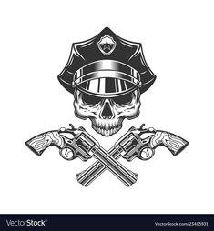 Vintage monochrome skull in police hat Royalty Free Vector , Firefighter Logo, Bat Template, American Logo, Pirate Eye Patches, Hunter Logo, Retro Arcade Games, Police Hat, Team Logo Design, Round Logo