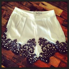 I want these shorts!  White cotton with ornate navy blue lace!  Women's summer fashion