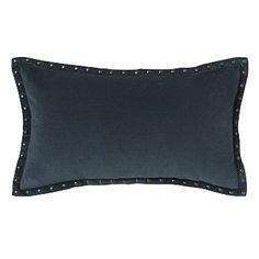 "Studded Velvet Pillow Cover - Regal Blue (12""x21"") #westelm: 12"" x 21"" pillow cover $34, insert $12 - Accent pillow on Guest bed"