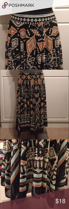 🎄SALE Aztec Print Maxi Skirt This gorgeous skirt is black, turquoise and orange. It's lined. Gently pre-owned in great condition. gnw Skirts Maxi