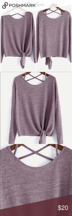 "🆕 Pink Shoulder Criss Cross Tie T-Shirt Pre-order   Material : Polyester Neckline : Round Neck Sleeve Length : Long Sleeve Fabric : Fabric is very stretchy Fit Type : Regular Fit Shoulder : 22.8"" Bust : 43.3"" Sleeve Length : 16.9"" Length : 22.4"" Tops Blouses"