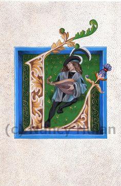 Alphabet Letter L Medieval Illuminated Letter L by ArteOfTheBooke, $10.00