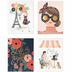 Rifle Paper Assorted Paper Crown Card Set - Waiting On Martha - 1