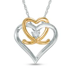 Let this meaningful fashion pendant be the metaphor for your everlasting love. Crafted in sleek sterling silver, this design pairs a larger open heart intertwined with a smaller 10K gold-plated open heart. Anchoring the design, a single diamond accent adds subtle shimmer. A thoughtful look she'll treasure, this pendant is polished to a brilliant shine and suspends along an 18.0-inch rope chain that secures with a spring-ring clasp.