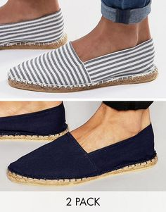 Get this Asos's espadrilles now! Click for more details. Worldwide shipping. ASOS Canvas Espadrilles In Navy And Blue Stripe 2 Pack SAVE - Multi: Espadrilles pack by ASOS, Pack of two pairs, Plain and striped designs, Canvas upper, Slip-on style, Woven midsole, Wipe with a damp sponge, 100% Textile Upper. ASOS menswear shuts down the new season with the latest trends and the coolest products, designed in London and sold across the world. Update your go-to garms with the new shapes and fits…