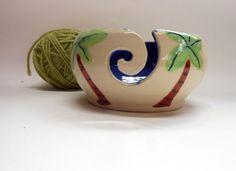Palm Tree Ceramic Yarn Bowl by Uturn on Etsy, $37.00