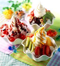 fruit topped sundaes