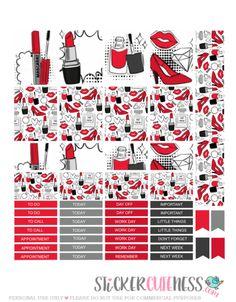 Free Printable Red Makeup Planner Stickers from StickerCuteness Mini Happy Planner, Free Planner, Filofax, Discbound Planner, Kikki K, Planner Layout, Planner Ideas, Printable Planner Stickers, Free Printable