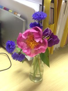 Desk posy 9th June Peony, cornflower, sweet pea,