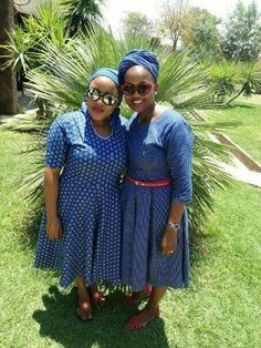 South African Shweshwe Fabric Dresses Pictures 2019 - fashionist now African Attire, African Dress, Short White Hair, African Traditional Wedding Dress, Ankara Styles For Men, Ankara Gowns, Dress Attire, Chubby Ladies, African Print Fashion