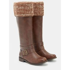 Justfab Flat Boots Scarletta ($30) ❤ liked on Polyvore featuring shoes, boots, brown, flat boots, brown platform boots, tall brown boots, tall flat boots and knee high platform boots