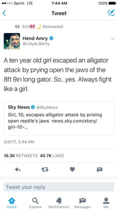 This is actually impressive like alligators have a ridiculous bite force it's super hard to pry their jaws open you go 10 year old girl! Intersectional Feminism, Humanity Restored, Patriarchy, Equal Rights, Faith In Humanity, Social Issues, Girls Be Like, Social Justice, In This World