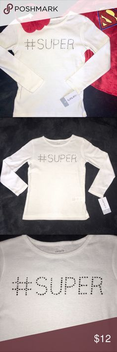 NEW - Carter's girls tee #SUPER New with tags! Girls long sleeve white tee that says #SUPER across the front in sparkling rhinestones. Perfect for your super girl! Pairs well with anything- jeans, shorts, skirts... Possibilities are endless. She'll feel like a real super hero! Carter's Shirts & Tops Tees - Long Sleeve