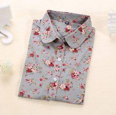 Originální dámská košile se vzorem – šedá s květinami – Velikost L Na tento  produkt se 4cb03a5d21