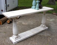 Console Table Handcrafted Shabby White With Balustrade Legs.looks like a great DIY! Furniture Projects, Furniture Making, Furniture Makeover, Home Projects, Diy Furniture, Luxury Furniture, Shabby, My New Room, Consoles