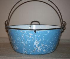 Antique Primitive Enamelware Graniteware Light Blue Swirl Cook Pot Pan Handle Spout Spatterware by AstridsPastTimes on Etsy